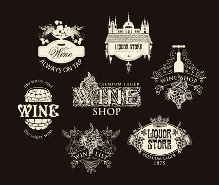 Set of logos, labels, badges, emblems, stickers for a wine shop and liquor store. Vector wine tags in vintage style with ornate drawings and inscriptions on a black background