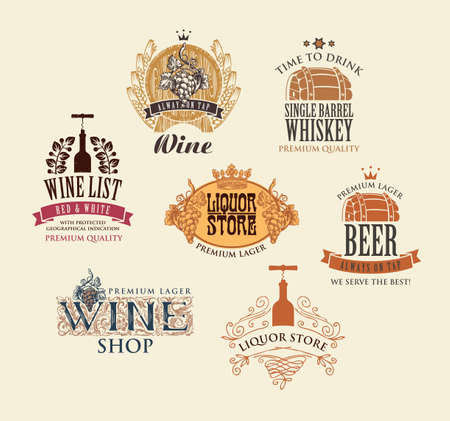 Set of logos, emblems, labels, badges, stickers for various alcoholic beverages. Vector icons for wine, whiskey, beer in retro style with drawings and inscriptions on an old beige background