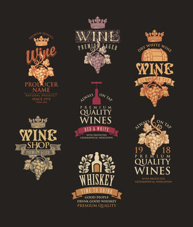 Set of logos, labels, emblems, badges or stickers for a wine and whiskey. Vector tags for alcoholic drinks in retro style with ornate hand-drawn decorations and inscriptions on a black background 矢量图像