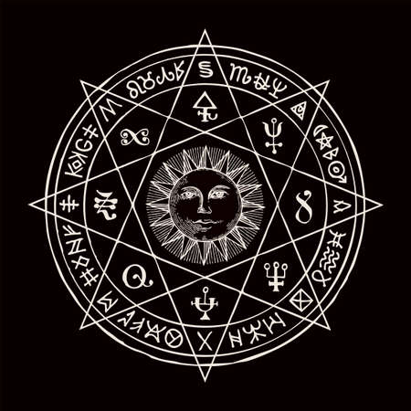 Hand-drawn illustration with the Sun inside octagonal star and esoteric symbols on a black background. Vector banner, mascot or amulet in the form of a circle with magic signs and runes in retro style
