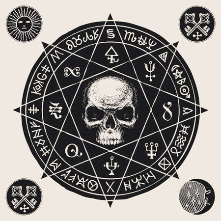 Hand-drawn illustration with a sinister human skull inside an octagonal star and esoteric symbols in retro style. Vector banner or talisman in the form of circle with witchcraft signs and magic runes