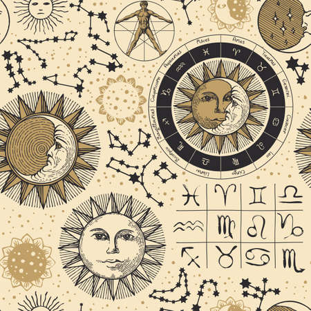 Seamless pattern on the theme of zodiac and horoscopes in retro style. Hand-drawn vector background with sun, moon, stars, constellations and human figure like Vitruvian man on an old paper backdrop 矢量图像