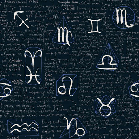Abstract seamless pattern with zodiac signs, handwritten text Lorem ipsum and hand-drawn geometrical figures on a black backdrop. Vector background in the style of chalk drawings on a blackboard 矢量图像