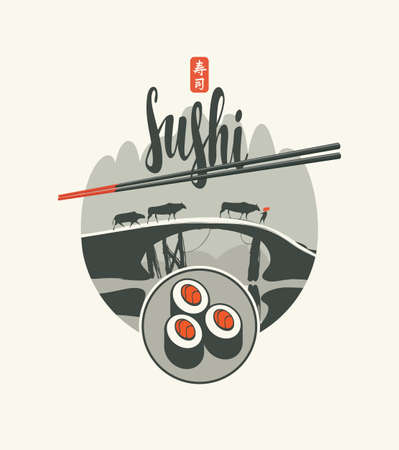 Vector label, banner or menu with sushi and chopsticks on the background of a landscape with cows walking on a bridge. Hieroglyph Sushi. Traditional Chinese and Japanese cuisine