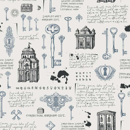 Abstract seamless pattern with vintage hand-drawn keys, keyholes and old buildings in retro style. Vector background with sketches and handwritten text lorem ipsum. Wallpaper, wrapping paper, fabric