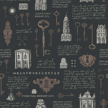 Hand-drawn seamless pattern with old buildings, vintage keys and keyholes black backdrop. Repeating vector background with drawings and handwritten text lorem ipsum. Wallpaper, wrapping paper, fabric 矢量图像