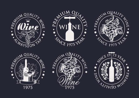 Set of wine logos, labels, badges, round-shaped stickers for a winery or wine store. Black and white vector emblems with hand-drawn bunches of grapes and bottles with corkscrews on a black background 矢量图像
