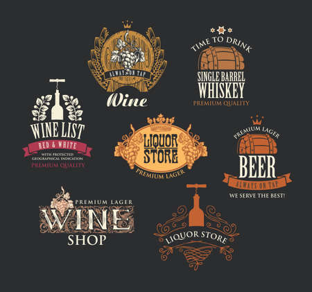 Set of logos, emblems, labels, badges, stickers, tags for alcoholic beverages. Vector colored icons for wine, whiskey, beer in retro style with drawings and inscriptions on a black background