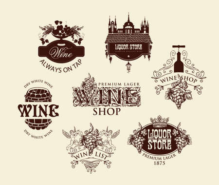 Set of logos, emblems, labels, badges, stickers for a wine shop or liquor store. Vector wine tags with ornate drawings and inscriptions on an old beige background in vintage style
