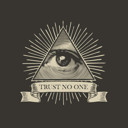 Vector Icon of the Masonic symbol All-seeing eye of God. The eye of Providence in a triangle pyramid and the inscription Trust no one on a black background. Banner with eye of God sign in retro style