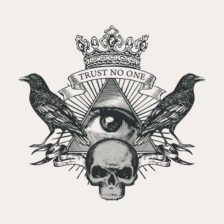 Vector coat of arms with Masonic symbol All-seeing eye of God, crown, black ravens and sinister human skull. Black-white banner in retro style with eye of Providence and inscription Trust no one 矢量图像