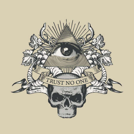 Vector coat of arms with Masonic symbol of All-seeing eye of God, grapes, rams horns and a human skull on a beige background. Retro-style banner with eye of Providence and inscription Trust no one