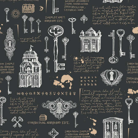 Vector seamless pattern with vintage keys, keyholes and old buildings in retro style. Hand-drawn background with sketches and handwritten text lorem ipsum on a black. Wallpaper, wrapping paper, fabric