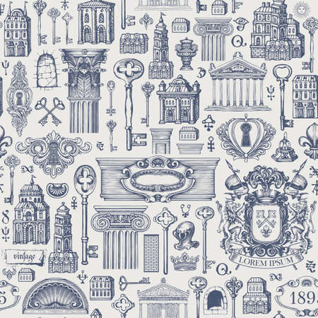 Seamless pattern on a theme of ancient architecture and art. Hand-drawn vector background with vintage buildings, architectural elements, coat of arms and old keys. Wallpaper, wrapping paper, fabric 矢量图像