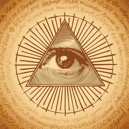 Vector banner with the Masonic symbol of the All-seeing eye of God inside triangle pyramid. Ancient mystical sacral illuminati sign on a beige background with illegible scribbles written in a circle