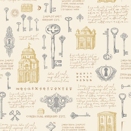 Hand-drawn seamless pattern with old buildings, vintage keys and keyholes. Vector background with sketches and handwritten text lorem ipsum in pastel colors. Wallpaper, wrapping paper, fabric 矢量图像