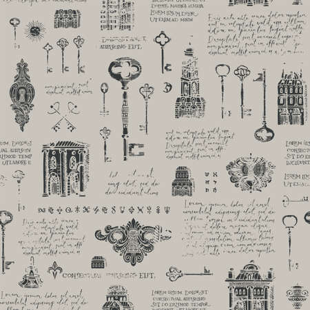Seamless pattern with old buildings, vintage keys and keyholes in grunge style. Hand-drawn vector background with handwritten text lorem ipsum and sketches on a gray. Wallpaper, wrapping paper, fabric