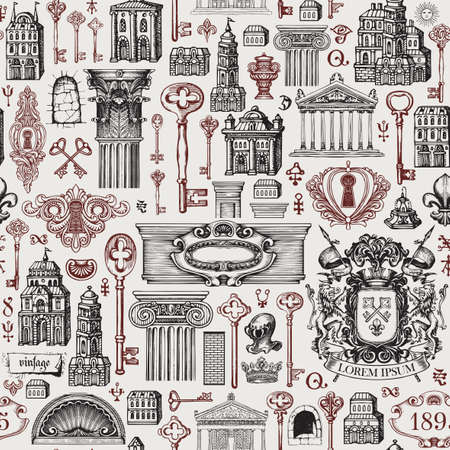 Hand-drawn seamless pattern on a theme of ancient architecture and art. Repeating vector background with vintage buildings, architectural elements, coat of arms and old keys. Wallpaper, wrapping paper