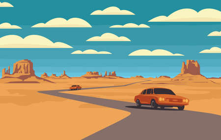 Decorative landscape with a road and passing cars in the desert with mountains and clouds in blue sky. Vector illustration of a road in form of a polyline passing through the barren American scenery