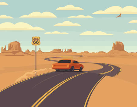 Vector illustration of a highway and a receding red car in the desert and mountains. Summer landscape with an endless road. Historic US Route 66, roadway with a sign, a horizon with a sandy wasteland