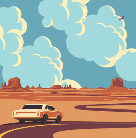 Vector illustration of a highway and a receding car at the desert with mountains and clouds in the blue sky. Summer landscape with an endless road in cartoon style. A horizon with a sandy wasteland