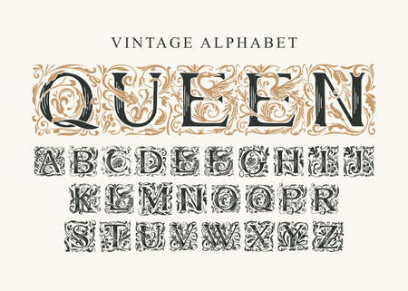 The word Queen. Vintage Alphabet, vector set of hand-drawn ornate initial alphabet letters on a light background. Luxury design of Beautiful royal font for card, invitation, monogram, label, logo 矢量图像