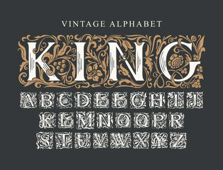 The word KING. Luxury design of ornate royal typeface for monogram, card, invitation, logo, label, signboard. Vintage Alphabet. Vector set of hand-drawn initial alphabet letters on a black background