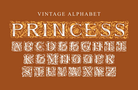 The word PRINCESS. Vintage Alphabet, vector set of ornate initial alphabet letters on a brown background. Luxury design of Beautiful hand-drawn royal font for card, invitation, monogram, label, logo 矢量图像