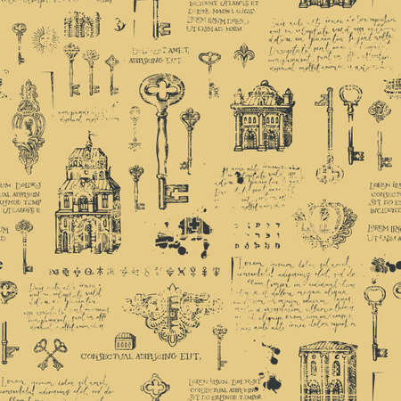 Vintage seamless pattern with hand-drawn keys, keyholes and old buildings in grunge style. Abstract vector background with sketches and handwritten text lorem ipsum. Wallpaper, wrapping paper, fabric