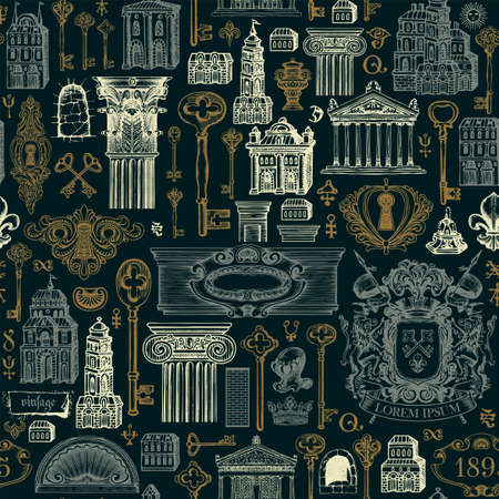 Hand-drawn seamless pattern on the theme of ancient architecture and art. Vector background with vintage buildings, architectural elements, coat of arms, old keys on a black. Wallpaper, wrapping paper 矢量图像