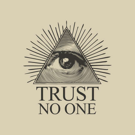 Vector Icon of the Masonic symbol of the All-seeing eye of God. The eye of Providence in the triangle and the inscription Trust no one on a vintage beige background. Sign eye of god in flat style 矢量图像