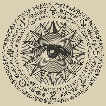 Vector banner with an all-seeing eye inside the sun, esoteric signs, magic runes, alchemical and masonic symbols written in a circle. Decorative hand-drawn illustration in retro style 矢量图像