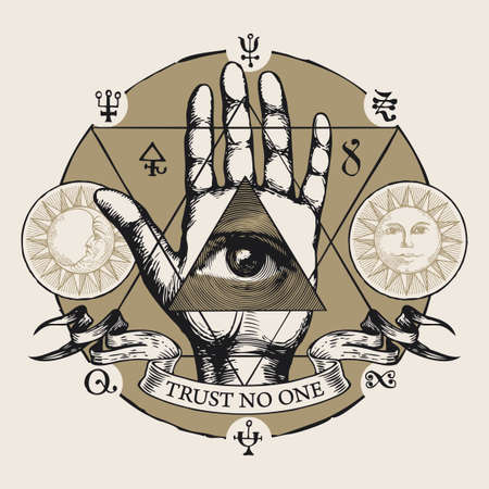 Hand-drawn vector illustration with all seeing eye of God on an open palm. Human hand with eye of Providence in the triangle, esoteric symbols, magic runes, alchemical signs and the words Trust no one 矢量图像