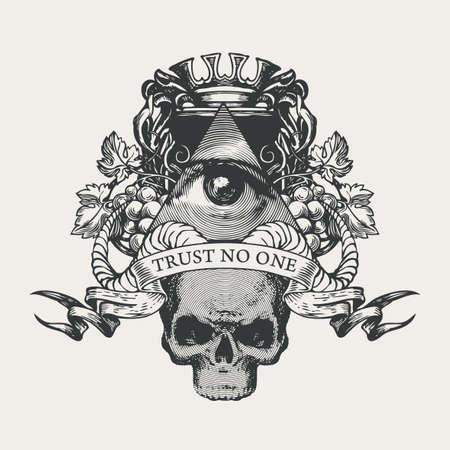 Vector coat of arms with Masonic symbol All-seeing eye of God, crown, grapes, rams horns and sinister human skull. Black-white banner in retro style with eye of Providence and inscription Trust no one
