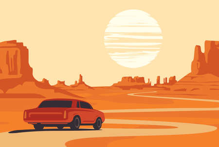 Hot summer landscape with deserted valley, mountains, winding road and single passing car. Western scenic illustration. Decorative vector background, Wild West prairie
