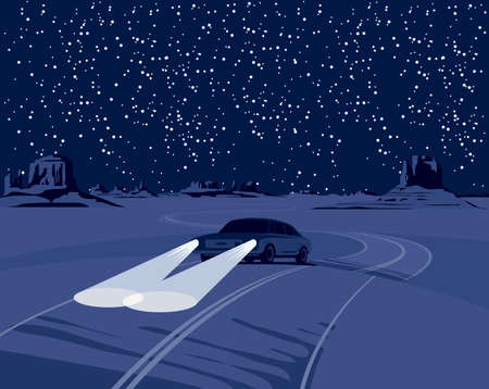 Night landscape with a deserted valley, a starry sky, mountains, a winding road and a single passing car with its headlights on. Vector background illustration on the theme of the Wild West nature