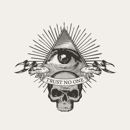 Vector banner with Masonic symbol All-seeing eye of God and a sinister human skull. Black-white illustration in retro style with eye of Providence in a triangle pyramid and inscription Trust no one
