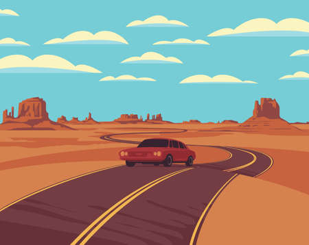Vector landscape with a highway and a single passing car in the desert with rocks and clouds in the blue sky. Cartoon background illustration with a barren American prairie and a winding road