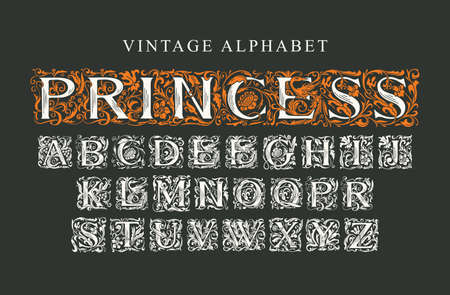 The word PRINCESS. Luxury design of Beautiful hand-drawn font for card, invitation, monogram, label. Vintage royal Alphabet, vector set of ornate initial alphabet letters on a black background