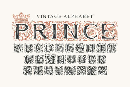 The word PRINCE. Luxury design of Beautiful ornate font for card, invitation, monogram, label. Vintage royal Alphabet, vector set of hand-drawn initial alphabet letters on a light background 矢量图像