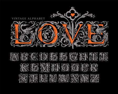 The word LOVE decorated with old key. Vector set of silver initial letters on a black background. Vintage hand-drawn Alphabet. Luxury design of ornate font for monogram, card, invitation,  label
