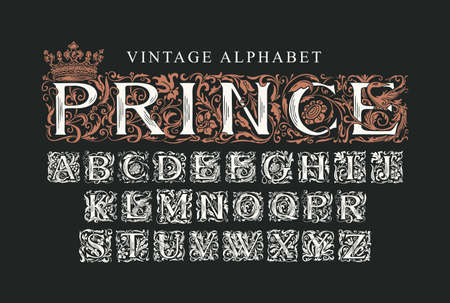 The word PRINCE decorated with crown. Luxury design of Beautiful ornate font for card, invitation, monogram, label. Vintage Alphabet, vector set of hand-drawn initial letters on black background