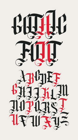 Gothic font. Full set of capital letters of the English alphabet in vintage style. Medieval Latin letters. Vector calligraphy and lettering. Suitable for tattoo, label, headline, poster, etc.