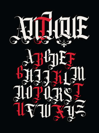 Antique font. Set of capital letters of English alphabet in vintage style. Medieval uppercase Latin letters on a black background. Vector calligraphy for monogram, tattoo, label, headline, lettering