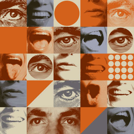 Pattern in retro style with human eyes and mouths expressing various emotions
