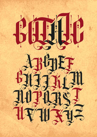 Gothic font. Set of capital letters of the English alphabet in vintage style on an old paper