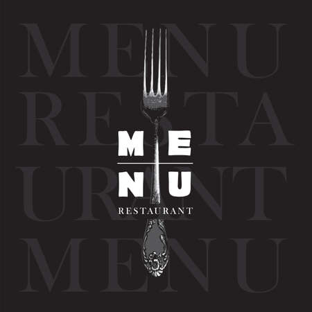 Restaurant menu decorated with a beautiful vintage realistic fork on a black background. Vector template in modern style 矢量图像