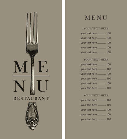 Vector menu template for a restaurant with a price list, decorated with a beautiful vintage fork on a beige background in retro style.