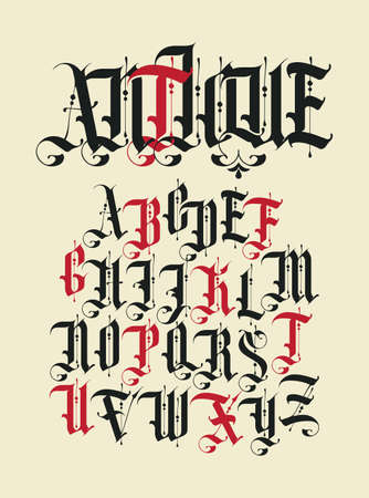 Antique font. Set of capital letters of English alphabet in vintage style. Medieval uppercase Latin letters. Vector calligraphy and lettering. Suitable for monogram, tattoo, label, headline, poster 矢量图像