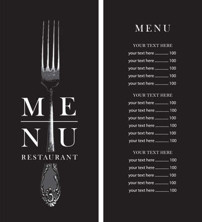 Black and white vector menu template for a restaurant with a price list, decorated with a vintage realistic fork on a black background in retro style.